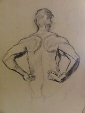 M. KREKELER - Kohle-Zeichnung um 1918: - AKT -  NACKTER MANN RÜCKSETIG