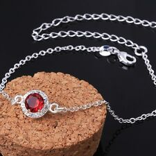Sterling Silver 925 Round Red Crystal Anklet Adjustable Free Gift Bag