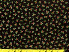 Gold Accented Small Holly &  Red Berries Christmas Quilting Fabric by Yard #3179