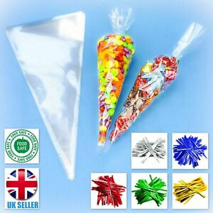 CLEAR CELLO CONE LARGE BAGS SWEET TREAT CANDY KID PARTY FAVOUR CELLOPHANE + TIES