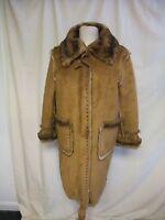 Ladies Coat Dennis Basso size S, brown faux suede, faux fur lining, studs 2274