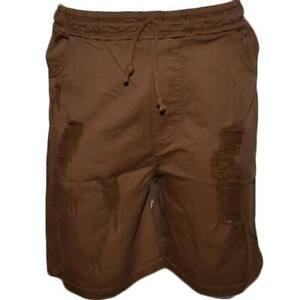 Pantaloncini Lino Uomo Pantalone Corto Bermuda  Sportivo Marrone Tasca America C