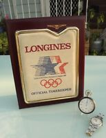Longines LA 1984 Olympics OFFICIAL TIMER dealer sign **ULTRA RARE** watch stand