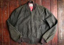 Vintage 50s Hércules abrigos Sears Verde conducción Deportiva Chaqueta De Cuero De Gamuza Medio
