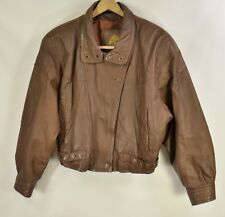 Womens Wilsons Brown Leather Adventure Bound Bomber Style Coat Jacket - Small