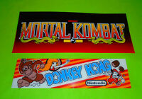 "Original ""Donkey Kong and Mortal Kombat"" Arcade Marquees plus 5 Classics"