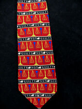 NEED A LAWYER MENS NECKTIE TIE SCALES JUSTICE NOT GUILTY VICKY DAVIS 58 X 4