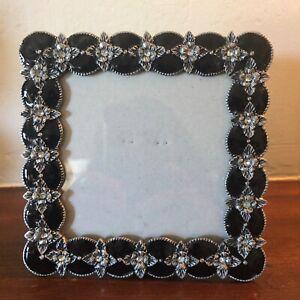 "Dark Brown Tortoise Glass Enamel Floral Square 5"" Metal FRAME 3.5"" Photo Opening"