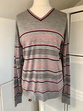 John Smedley Grey & Pink Stripe 100 % NZ Merino Wool Fine Knit Jumper - Size XL