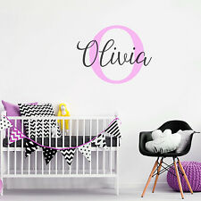 Customise Initial & Baby Name Nursery Room Mural Sticker Vinyl Decal Decor