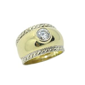 Chunky Solitaire CZ 9ct Gold Ring
