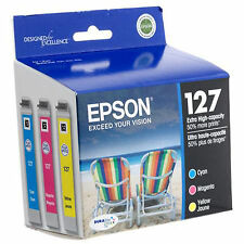 2018 3-Pk GENUINE Epson High Yield 127 T127 T127520 Ink Workforce 645, 840, 845