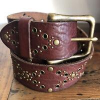 Fossil Women's Leather Studded Belt Brass Buckle Size Small Boho Western