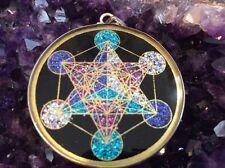 "Archangel Metatrons Cube 1"" Pendant Necklace Tourmaline Gemstone Mystical #Gift"