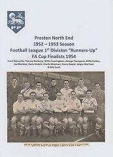 Preston North End 1952-1953 FA Cup 54 Rare Orig mano firmado Team Group 10 X Sigs