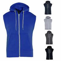 Boys Kids Plain Fleece Zipper Hoody Sleeveless Hoodie Gilet Sweatshirt Jacket