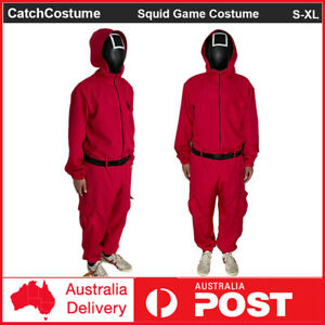 Adults Squid Game Villain Red Jumpsuit Cosplay Costume Halloween Party Outfits