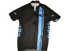 Small CAPO Cycling Bike Jersey Full Zip Black Blue Short Sleeve T Shirt EUC