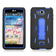 MetroPCS LG Spirit 4G Impact Hard Rubber Case Phone Cover Kick Stand Black Blue