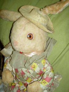"Vintage Knickerbocker, 22"" stuffed, dressed, standing pink fur bunny rabbit toy"