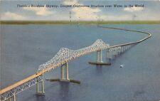FLORIDA'S SUNSHINE SKYWAY LONGEST CONTINUOUS STRUCTURE OVER WATER POSTCARD c1953