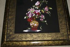 "Huge Hmong Silk Needle Embroidery Masterpiece Art Custom Framed Peonies 42x36"""