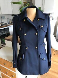 TED BAKER navy military MOYA wool coat jacket 1  8  36  Us 4 VGC