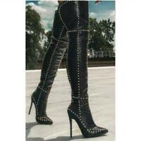 Fashion Women Patetnt Thigh High Boots Heels Black Shoes Woman Plus Size 4-15