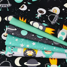 SPACE EXPLORERS 5 Piece FQ Bundle, 100% Cotton Fabric by Robert Kaufman