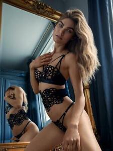Ann Summers Tia Full Set Waspie,Bra,Thong Size S 8-10 New & Tags Black EU 34-36