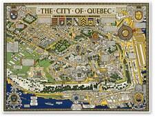 "Quebec City, Canada Pictoral Map circa 1932 - 24"" x 32"" Large Art Print Poster"