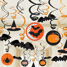 30 Halloween Orange & Black Hanging Swirls Party Decorations Spooky Decorations