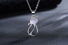 925 Sterling Silver Cat Moonstone Pendant Chain Necklace Womens Ladies Jewellery