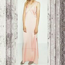 ZARA WOMAN STUDIO Slip Camisole Long Dress Contrast Topstitching Satin Size S M