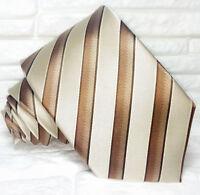 Cravatta marrone business 100% seta Made in Italy a righe marrone e bianchi