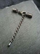 6 Sets Gunmetal COIL Crimp Ends for 2mm to 2.5mm Cord with 12mm Clasp & Chain UK