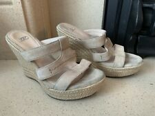 UGG Beautiful Beige/Cream Suede Wedge Slip On Sandals Size 5.5