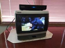 """RCA 9"""" Colortrak TV Radio AM FM White RV Remote Antenna Mint Retro Console Tube"""