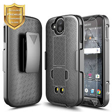 Kyocera DuraForce Pro E6820 Belt Clip Holster Case Kickstand  + Tempered Glass