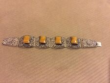 "Antique Chinese Filigree Silver Gilt Tigers Eye Bracelet 37g 7""+"