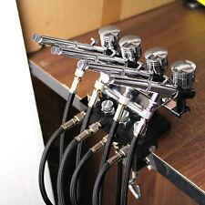 OPHIR 4-Airbrush Holders Set Kit and  1/8 Air Hose Splitter Set Adjustable set