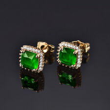 HUCHE Green Sapphire Emerald Luxury 24K Gold Filled Lady Banquet Wedding Earring