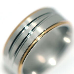 Mens / Womens Jewelry Band Ring 2-Tone Silver Rings Stainless Steel Ring Size 11