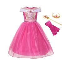 Princess Aurora Costume Girl Dress Sleeping Beauty Halloween Gown Cosplay Outfit