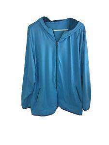 reebok womens plus sized long sleeved Hooded activewear jacket size:26/28 blue