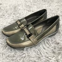 Sesto Meucci Metallic Leather Loafer Shoes Womens Size 8 M