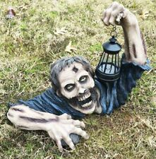 "Dead Rising out of Grave Zombie Holding Solar LED Lantern Figurine 18.5"" L"