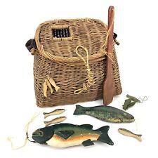 Vintage Antique Creel Fishing Wicker Basket w Wooden Fish Net Cabin Lodge Fisher