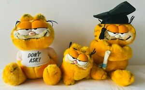 GARFIELD Fat Cat 3 Small Plush Soft Stuffed Toy Doll VINTAGE 1978 1981 Dakin