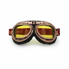 Copper Motorcycle Goggles Glasses Eyewear WWII RAF VINTAGE PILOT Amber Lens US